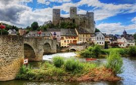 Aperçu fond d'écran Belle ville, Runkel, Allemagne, château, rivière, pont