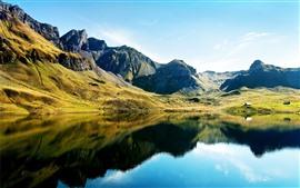 Aperçu fond d'écran Beau paysage naturel, montagnes, vert, lac, reflet de l'eau