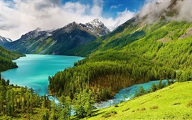 Preview wallpaper Beautiful nature landscape, slope, mountains, trees, lake