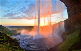 Beautiful waterfall, sunshine, glare, fog
