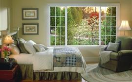 Dormitorio, cama, luces, ventana, interior