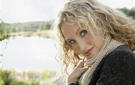 Preview wallpaper Blonde girl, curly hair, look, sunshine, lake