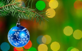 Preview wallpaper Blue Christmas ball, pine twigs, light circles