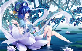 Preview wallpaper Blue hair anime girl, pond, water lily, flowers
