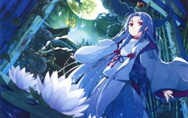 Preview wallpaper Blue hair anime girl, red eyes, white water lily, moon