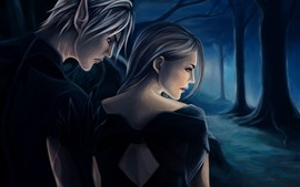 Boy and girl, forest, night, art picture