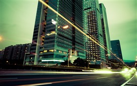 Preview wallpaper City at night, skyscrapers, light lines, road