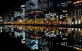 City, night, buildings, lights, river, water reflection