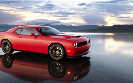 Preview wallpaper Dodge red supercar, lake