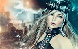 Chica de fantasía, ojos azules, cabello largo, vidrio