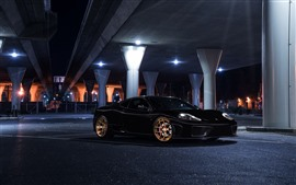 Preview wallpaper Ferrari black car at night, bridge, lights