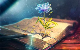 Preview wallpaper Flower, book, pen, creative design