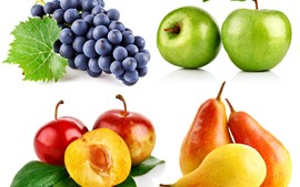 Preview wallpaper Four kinds of fruit, grapes, apples, plums, pears