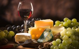 Preview wallpaper Green grapes, cheese, wine