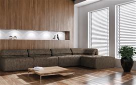 Sala de estar, móveis, sofá, janela, raios de luz