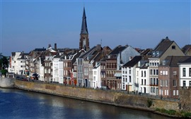 Preview wallpaper Maastricht, Netherlands, houses, river