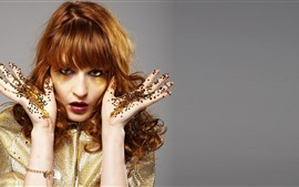 Makeup, girl, glitter, brown hair, hands