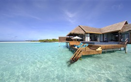 Maldives, bungalows, sea, tropical, summer