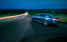 Preview wallpaper Maserati blue car, night, road, lights