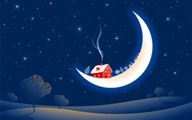 Preview wallpaper Moon, house, snow, smoke, night, trees, creative picture