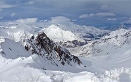 Montagnes, neige, sommets, hiver