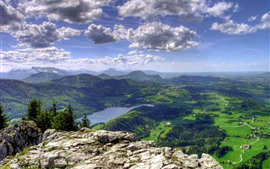 Mountains, top view, village, river, trees, green, clouds