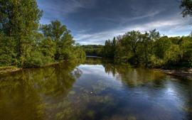 Paisaje de la naturaleza, río, árboles, pato, nubes.