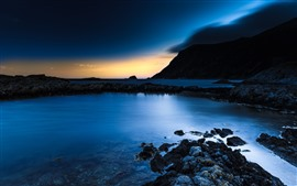 Preview wallpaper Night, sea, rocks, sunset, blue