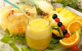 Preview wallpaper Pineapple juice, drinks, glass cup
