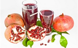 Preview wallpaper Pomegranate and two cups juice, white background