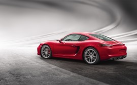 Preview wallpaper Porsche Cayman GTS red supercar