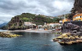 壁紙のプレビュー ポルトガル、海、山、家、海岸