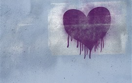 Preview wallpaper Purple love heart, wall, graffiti