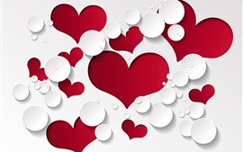 Red love hearts, white background, water droplets