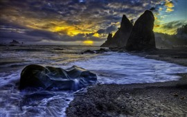 Preview wallpaper Rocks, sea, water stream, sunset, clouds