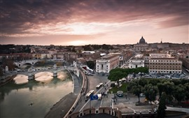 Rome, Italy, houses, street, bridge, river, city