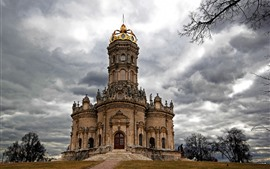 Preview wallpaper Russia, church, trees, clouds
