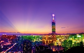 Preview wallpaper Taiwan, Taipei, city at night, skyscrapers, lights, colorful