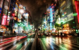 Preview wallpaper Tokyo, city, night, road, cars, buildings, lights, Japan