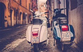 Two motorcycles, street, retro style, city
