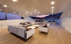 Yate, interior, sillas, sofá