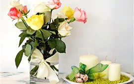 Preview wallpaper Yellow pink white roses, candle