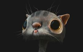 3D кот, черный фон