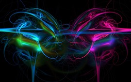 Preview wallpaper Abstract light lines, colorful, smoke