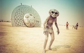 Preview wallpaper Alien, beach, UFO