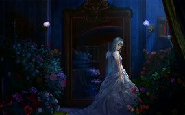 Preview wallpaper Anime girl, night, roses, wings, angel