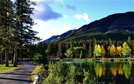 Preview wallpaper Banff National Park, lake, trees, road, mountains