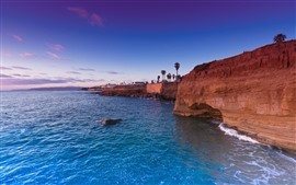 Preview wallpaper Blue sea, rocks, palm trees, coast, tropical