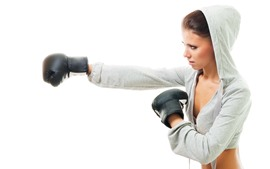 Boxing, girl, white background