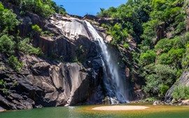 Brazil, waterfall, cliff, rocks